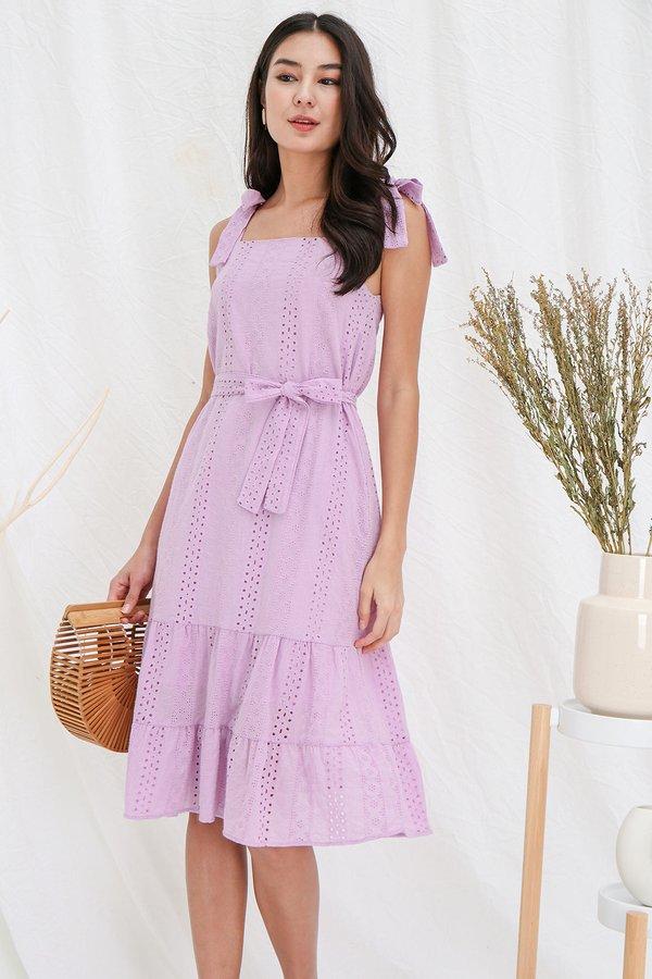 Stringing Sycamores Eyelet Tier Midi Dress Lilac