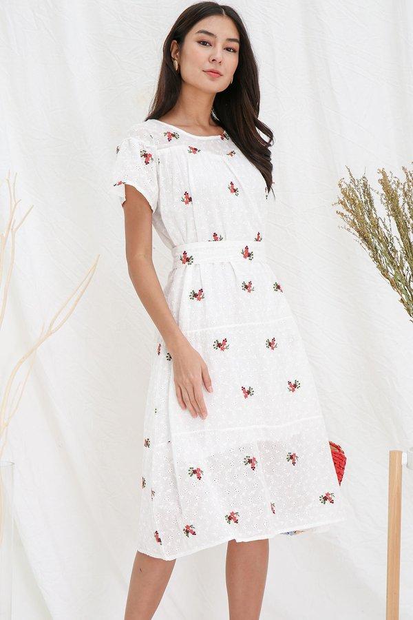 Poised in Posies Eyelet Embroidery Midi Dress White