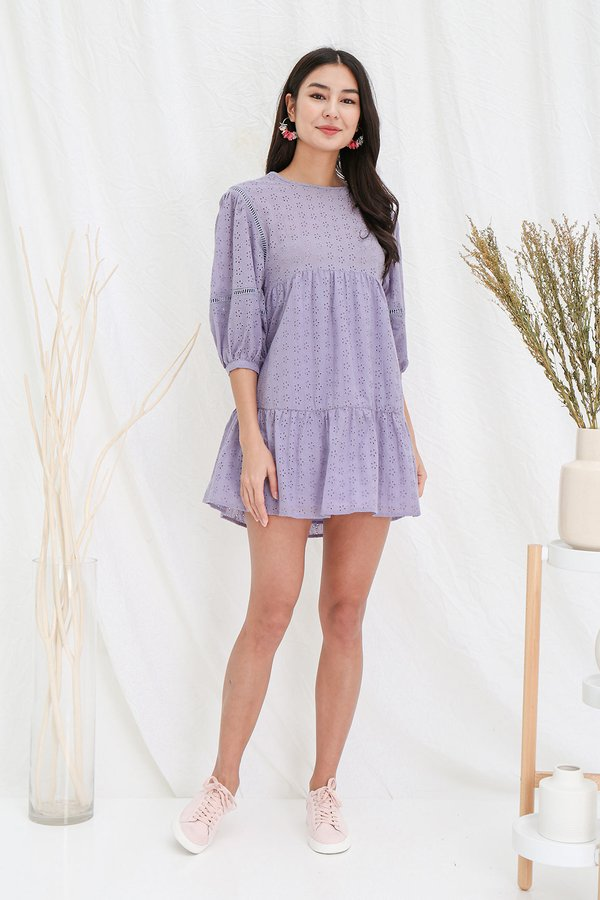 Hydrangeas Fiore Eyelet Blouson Dress