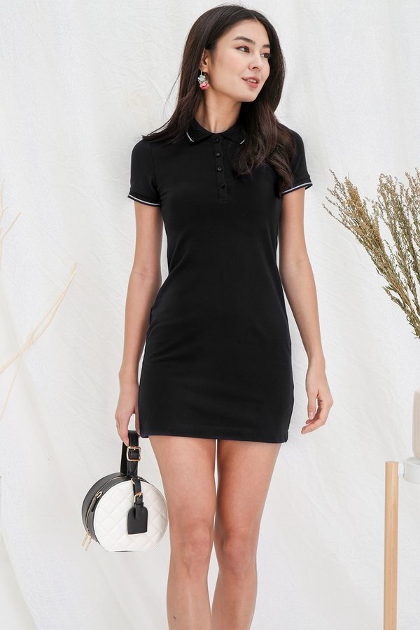 Sport in your Step Polo Tee Dress Black
