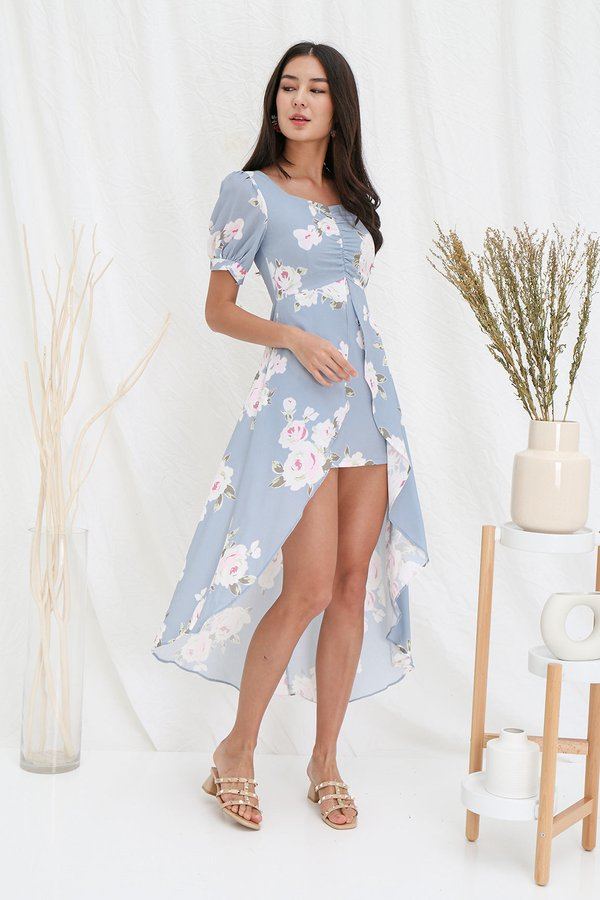 Straight out of a Fairytale Floral Fishtail Dress Blue Grey