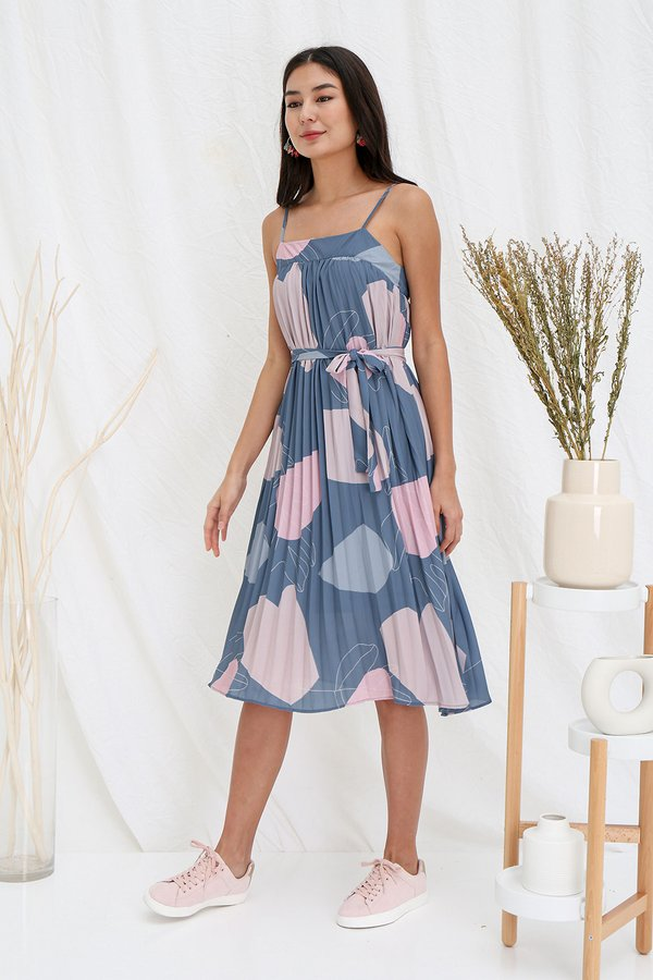 Painterly Pastel Pleats Abstract Tent Dress Steel Blue