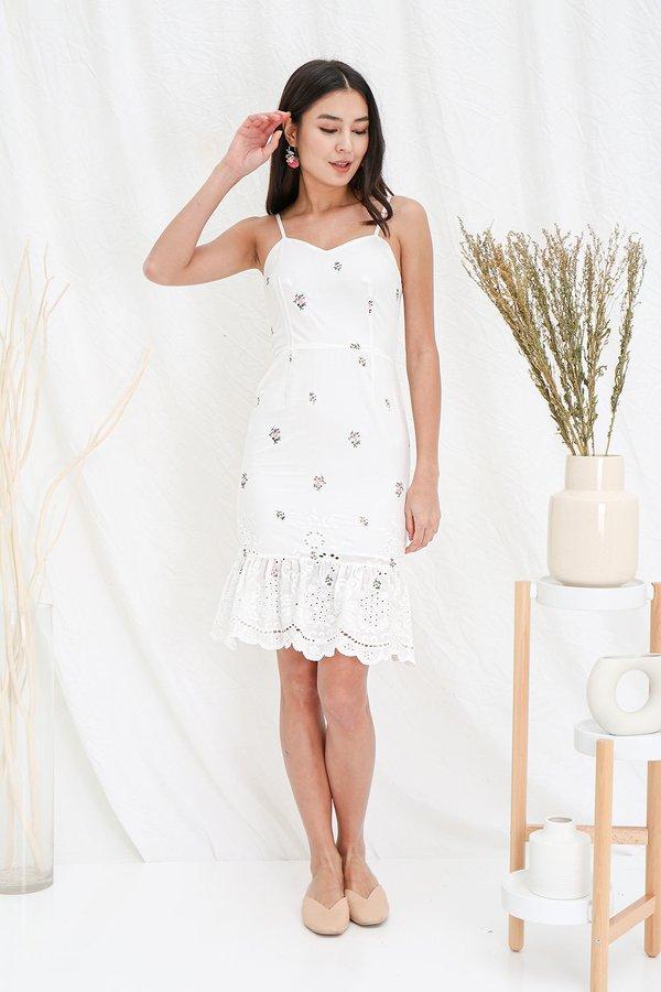 Fabrique Romantique Embroidery Dropwaist Midi Dress White