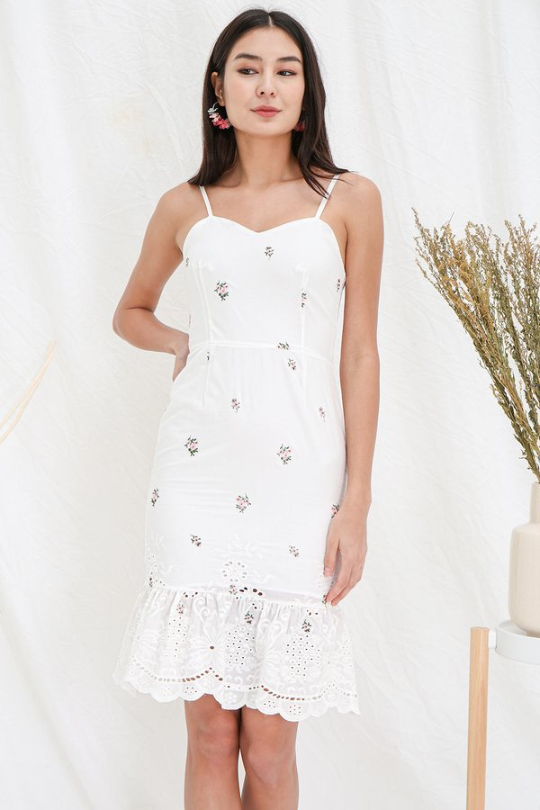 Fabrique Romantique Embroidery Dropwaist Midi Dress White