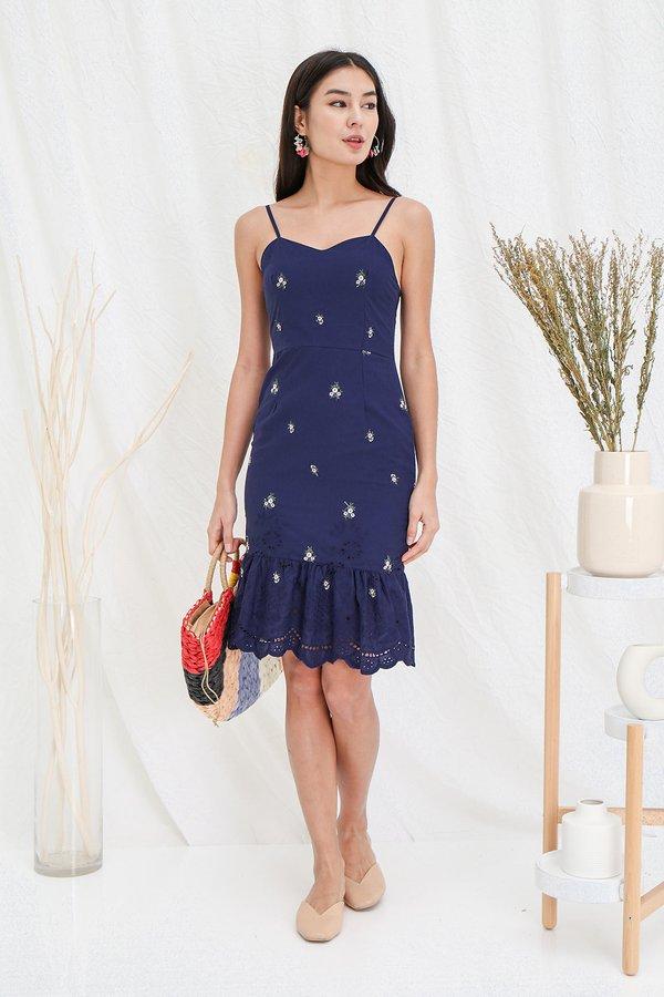 Fabrique Romantique Embroidery Dropwaist Midi Dress Navy Blue