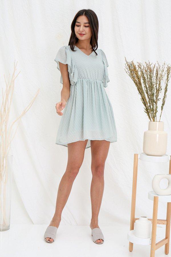 Mint Spritzer Swiss Dots Flutter Dress