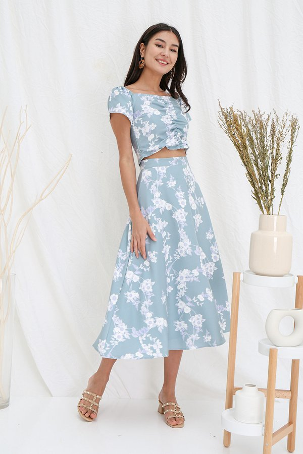 Holiday Homage Floral Ruched Two Piece Maxi Set Seafoam Green