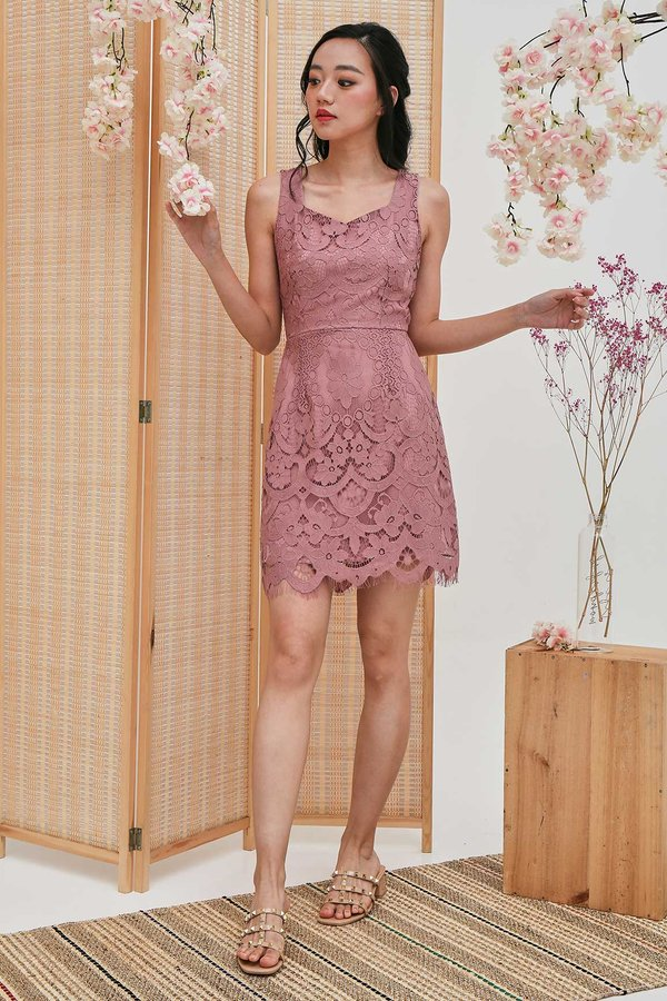 Scalloped Slenderity Lace Bodycon Dress Mauve Pink