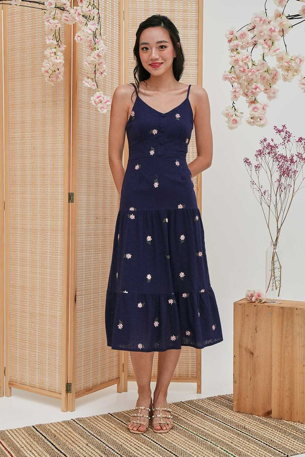 Enamouring Florals Embroidery Midi Dress Navy Blue