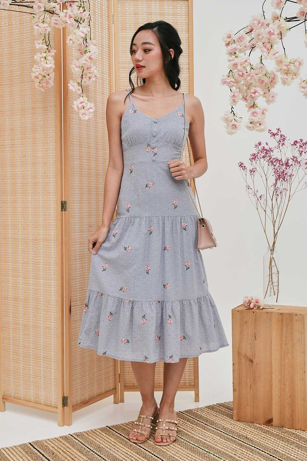 Enamouring Florals Embroidery Midi Dress Blue Grey