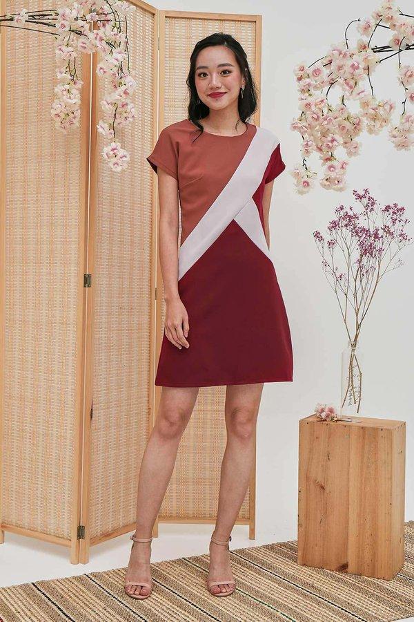 Prosperity Panels Colourblock Shift Dress Rosewood