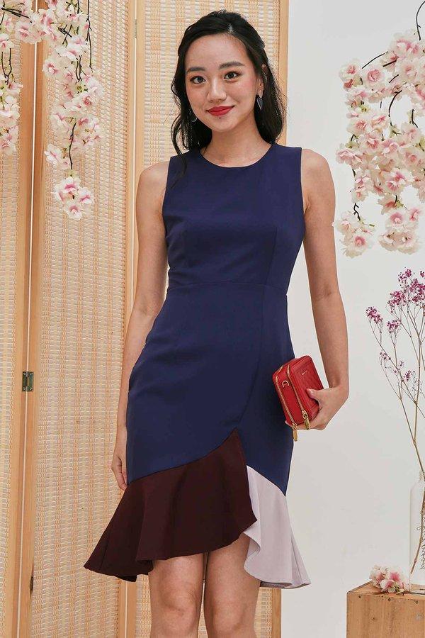 Audaciously Auspicious Colourblock Dress Navy Blue