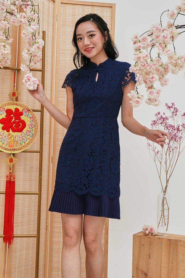 Plisse Exquisite Lace Cheongsam Dress Navy Blue