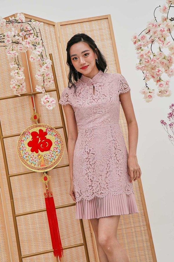 Plisse Exquisite Lace Cheongsam Dress Pink