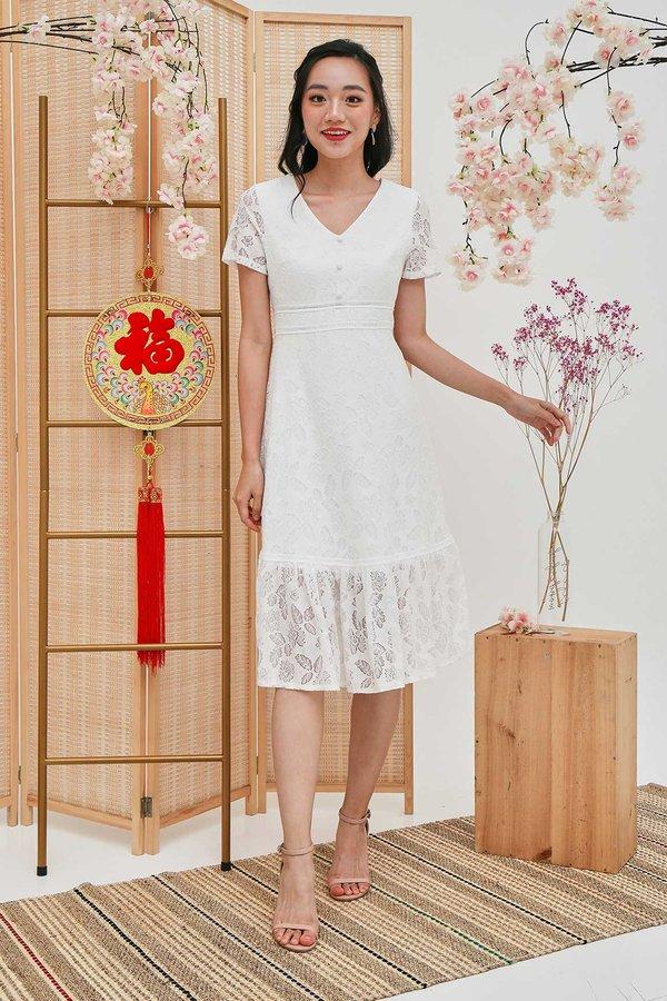 Lacey Fairytale Dropwaist Dress White