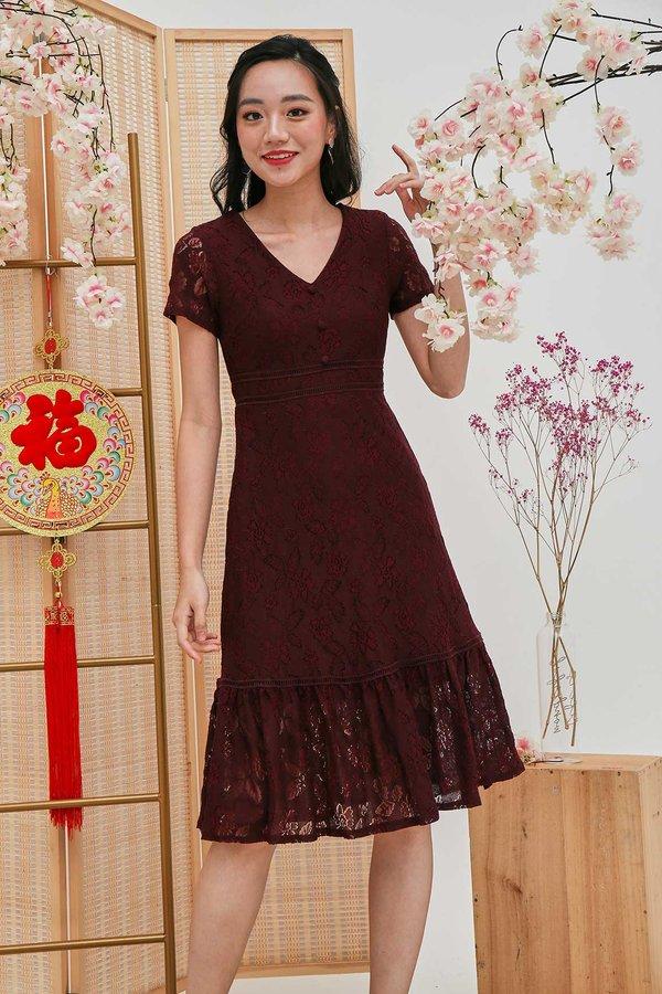 Lacey Fairytale Dropwaist Dress Burgundy Red