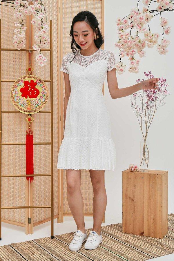 Festive Finery Lace Dropwaist Dress White