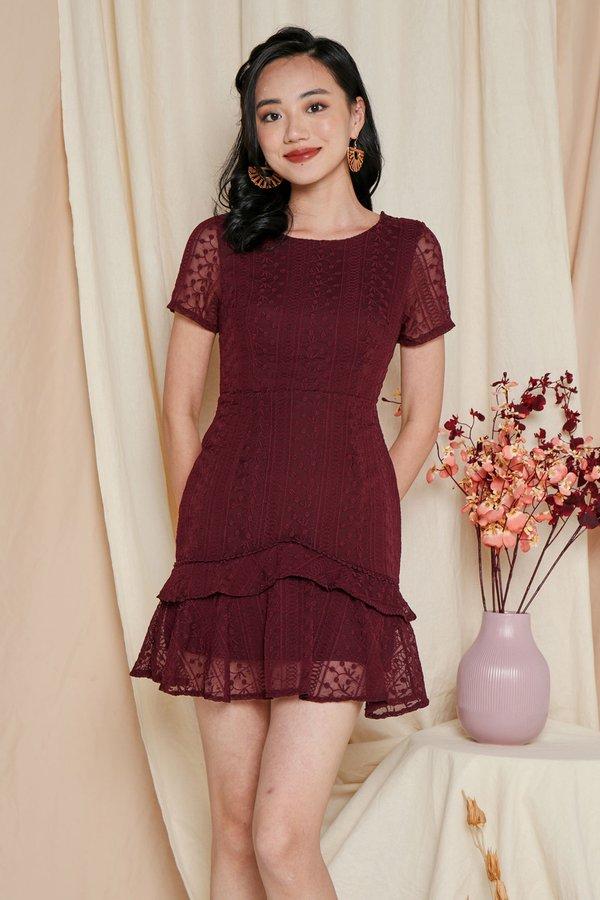 Lacelike Embroidery Dropwaist Dress Burgundy Red