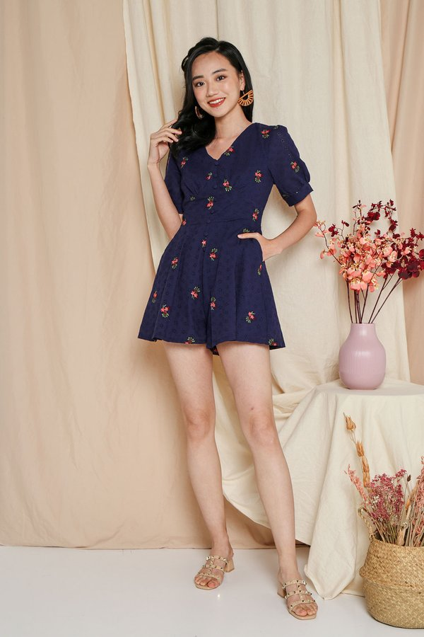 Eyelets Happy Place Button Romper Navy Blue