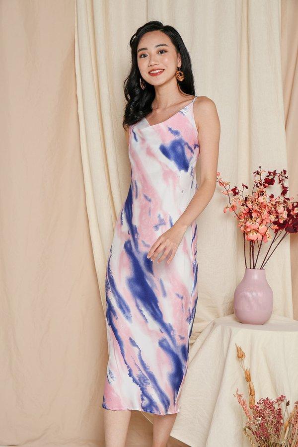 Rose Quartz Serenity Cowl Neck Midi Slip Dress