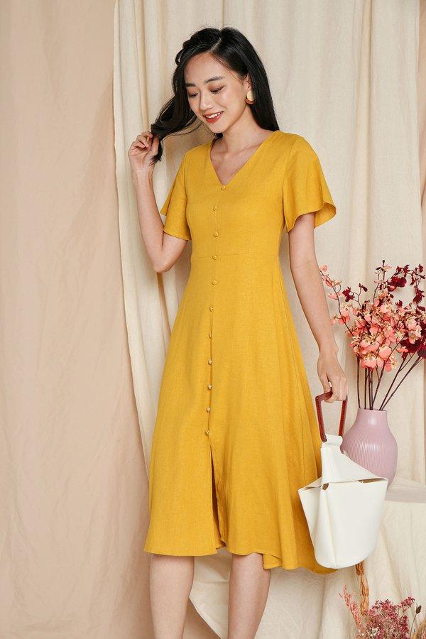 Flutter Lightyears Linen Button Midi Dress Marigold