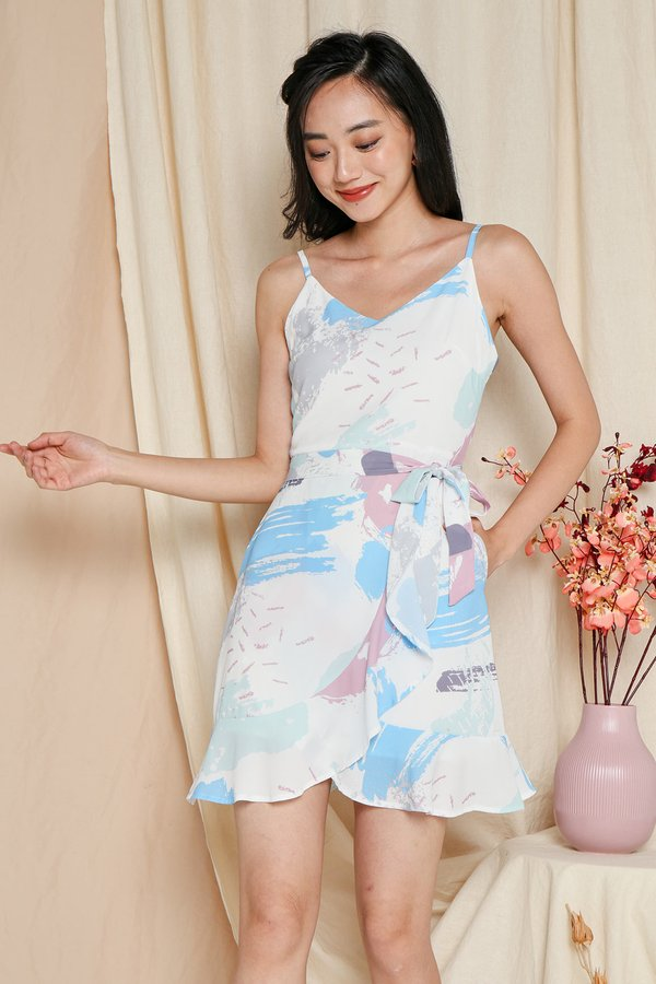Fortunes Flow Abstract Ruffle Dress Blue