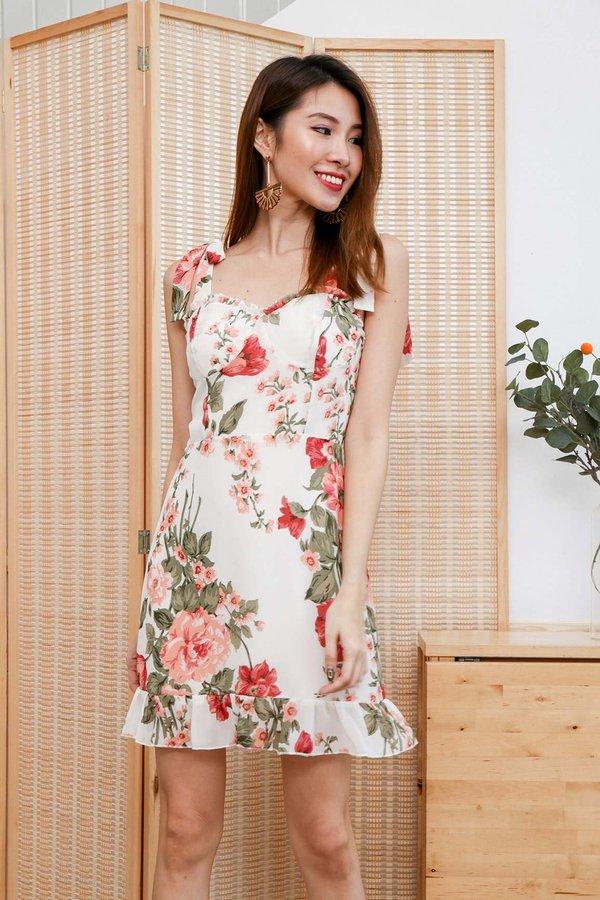 Blooming Peonies Tie String Dress