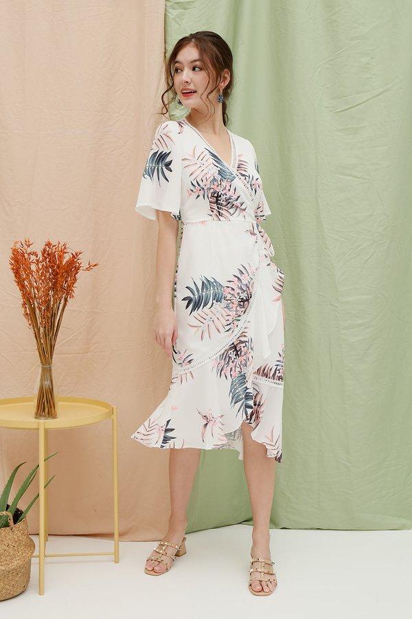 Serendipity Spin Floral Ruffle Wrap Midi Dress White