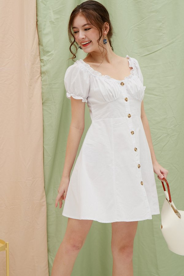 Pixie meets Pastoral Button Dress White