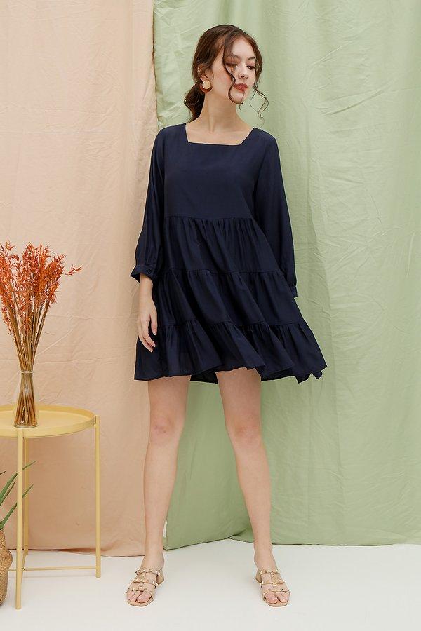 Swoon Worthy Sway Babydoll Tier Dress Navy Blue