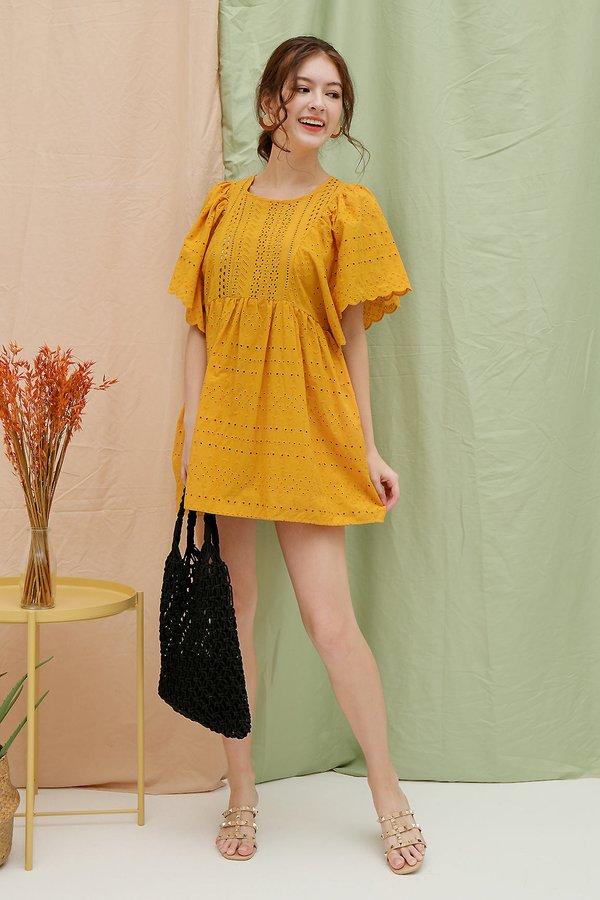 Stay-in Sunshine Eyelet Babydoll Romper Dress