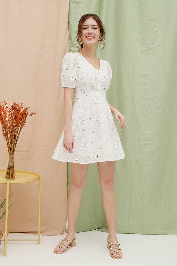 Sunrise Holiday Eyelet Button Shirt Dress White