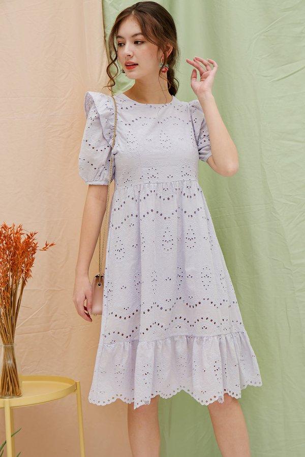 Lulling Lilac Eyelet Dropwaist Midi Dress