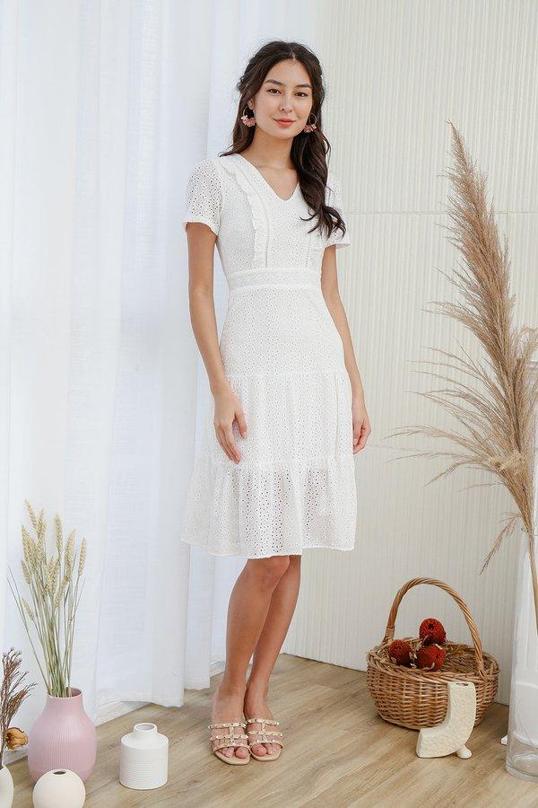 Tiers of Joy Eyelet Midi Dress White