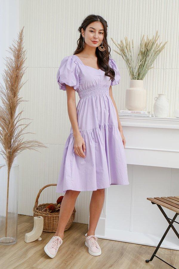 Lilac Dreams Alight Smocked Midi Dress