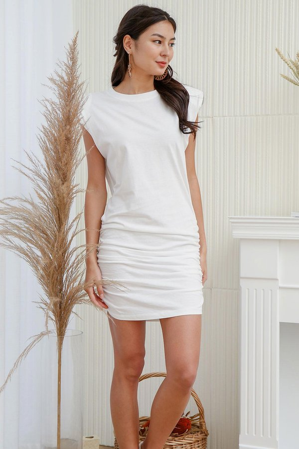 Ruching does the Body Good Muscle Tee Dress White