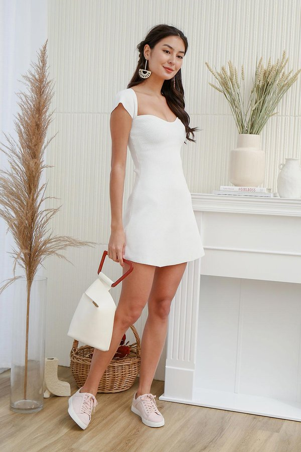 The A-Line Sweetheart Shaper Ribbed Knit Dress White