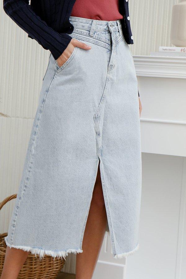 For Better or for Worn Longline Denim Skirt