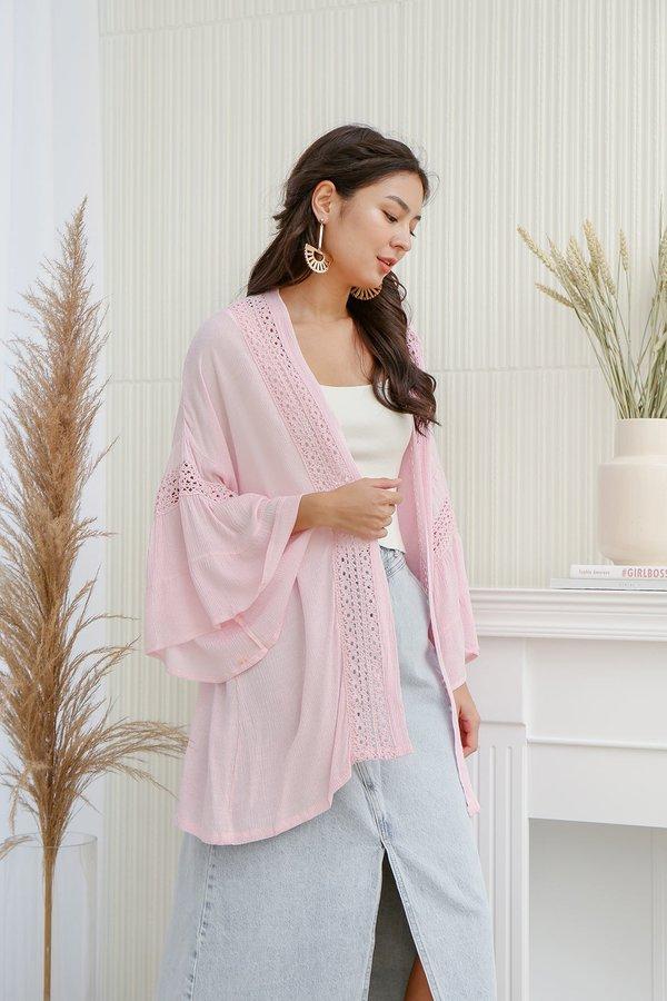 Prairie Poster Child Lace Trim Kimono Outer Pink