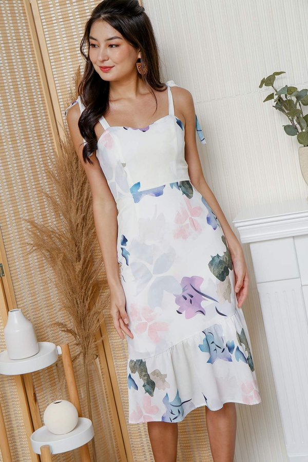 Ticket to Anywhere Watercolour Florals Dress Lilac Blue
