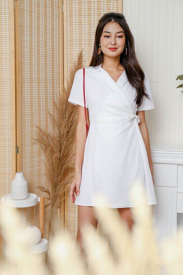 Linen Well Made Blazer Wrap Dress White