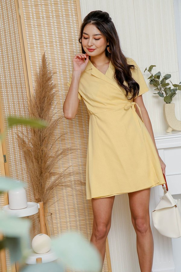 Linen Well Made Blazer Wrap Dress Yellow
