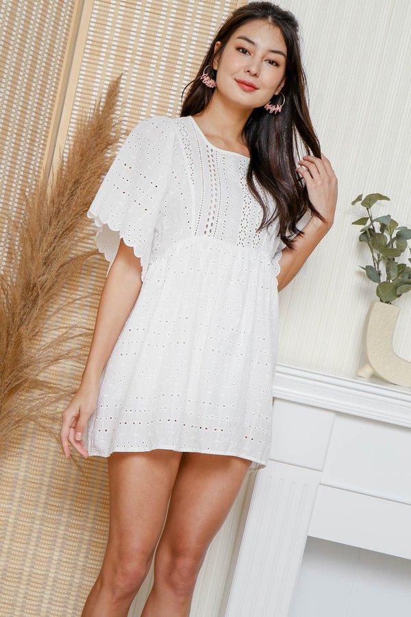 Stay-in Sunshine Eyelet Babydoll Romper Dress White