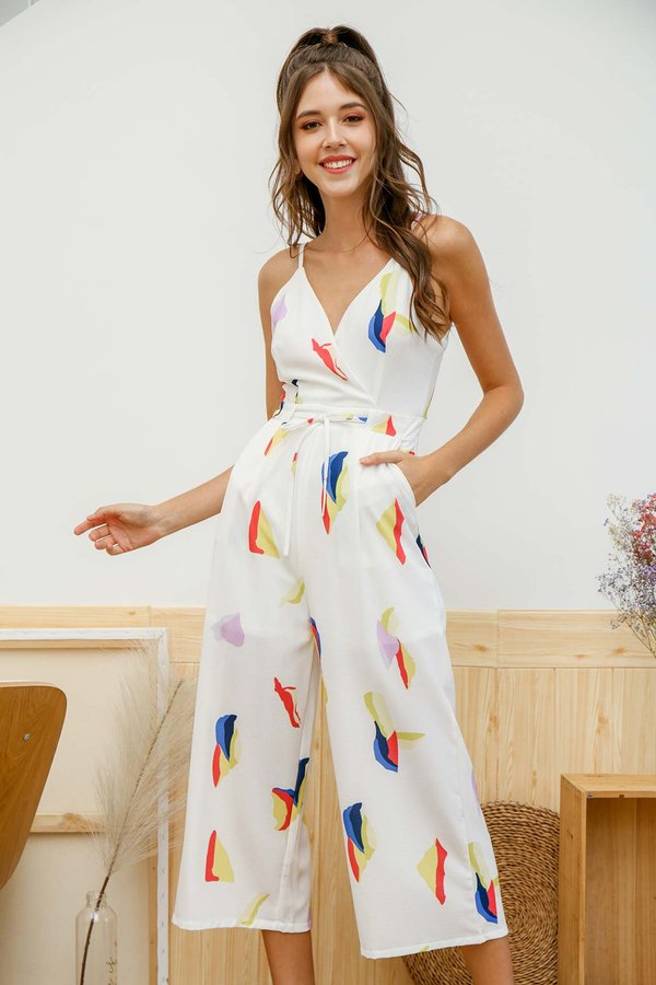 Abstract Abyss Jumpsuit White