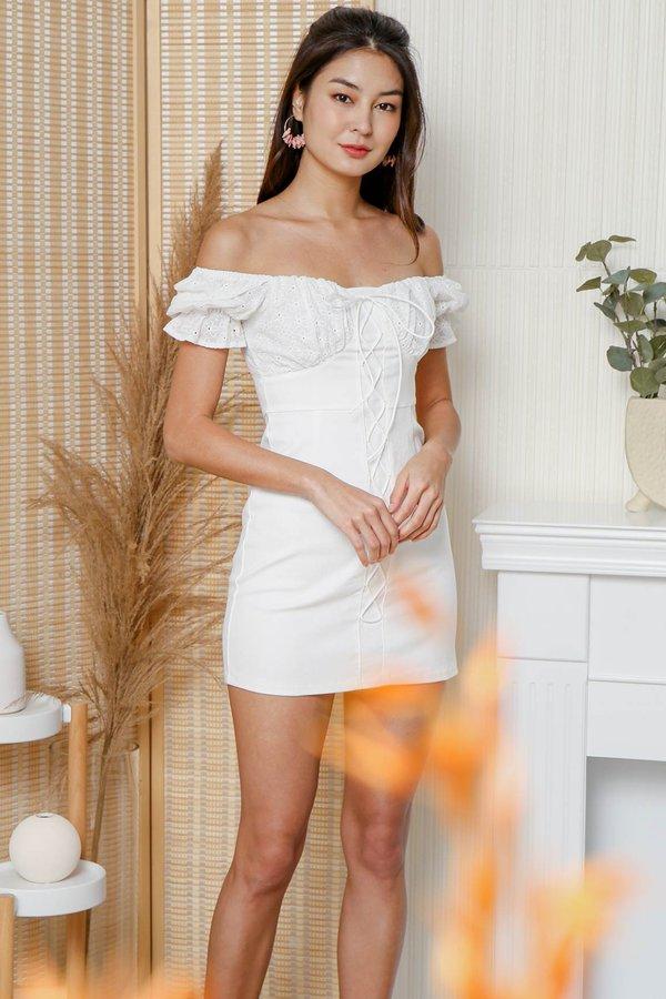 Broderie Boulevard Laceup Milkmaid Denim Dress
