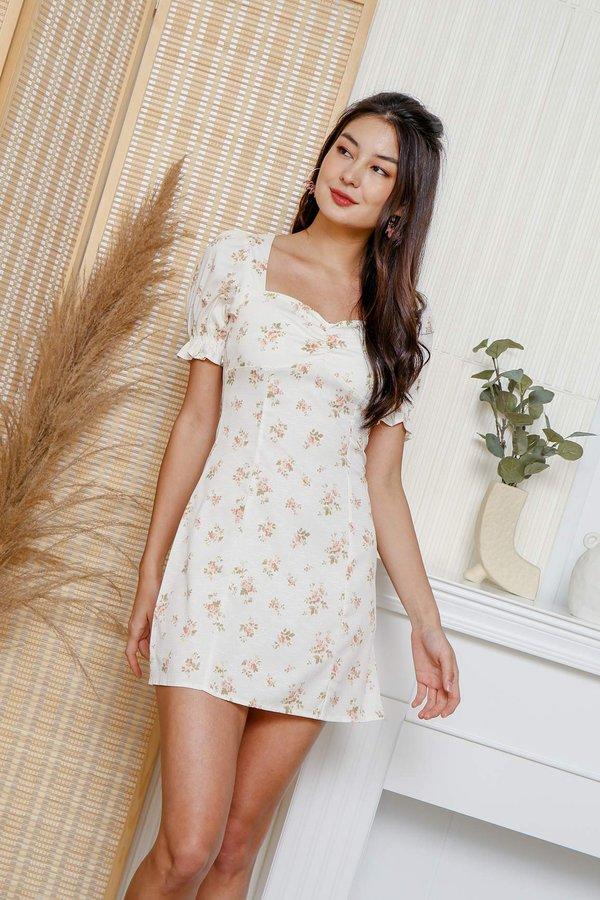 Autumn Alley Warmth Florals Ruched Milkmaid Dress
