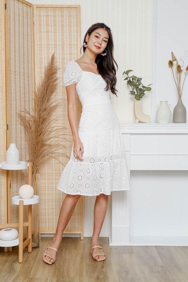 Trigger Happy Tiers Eyelet Midi Dress White