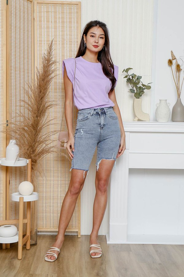 Poised Padded Shoulders Muscle Tee Lilac