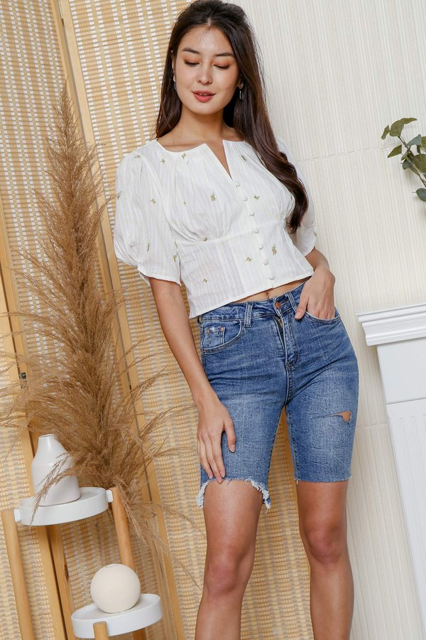 Sunshine Posies Embroidery Button Blouse
