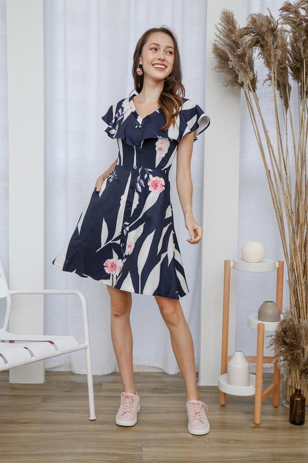 Flurry of Florals Button Pocket Dress Navy Blue